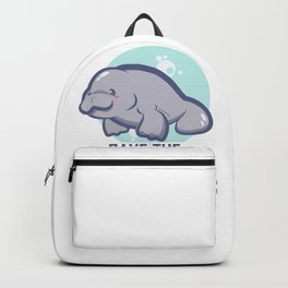 Manatee Retro Vintage Save The Floaty Potatoes design Gift Backpack