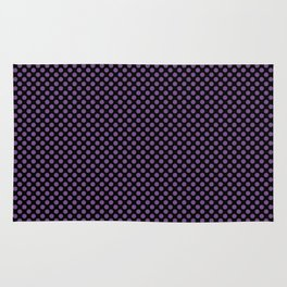Black and Royal Lilac Polka Dots Rug