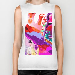 Abstract Violet Biker Tank