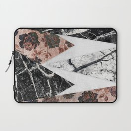 Modern Chic Black White Marble and Rose Gold Geo Laptop Sleeve