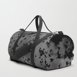 Flock Of Birds Flying Through A Dark Dense Gloomy Cloudy Sky Grey And Black Duffle Bag