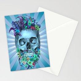 floral beard skull 2 Stationery Cards