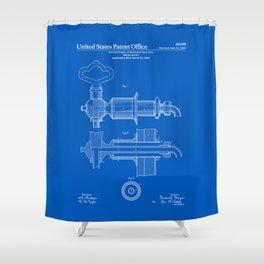 Beer Faucet Patent - Blueprint Shower Curtain