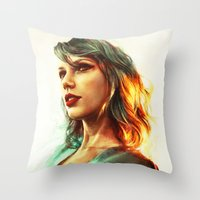 sexy Throw Pillows featuring When the Sun Came Up by Alice X. Zhang