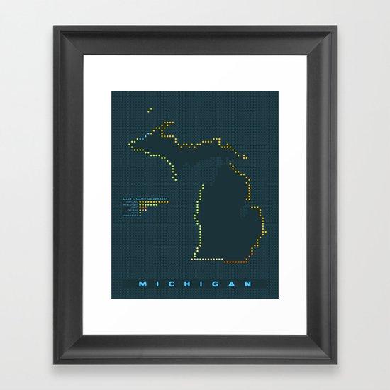 MDOT - Michigan Land & Maritime Borders Framed Art Print