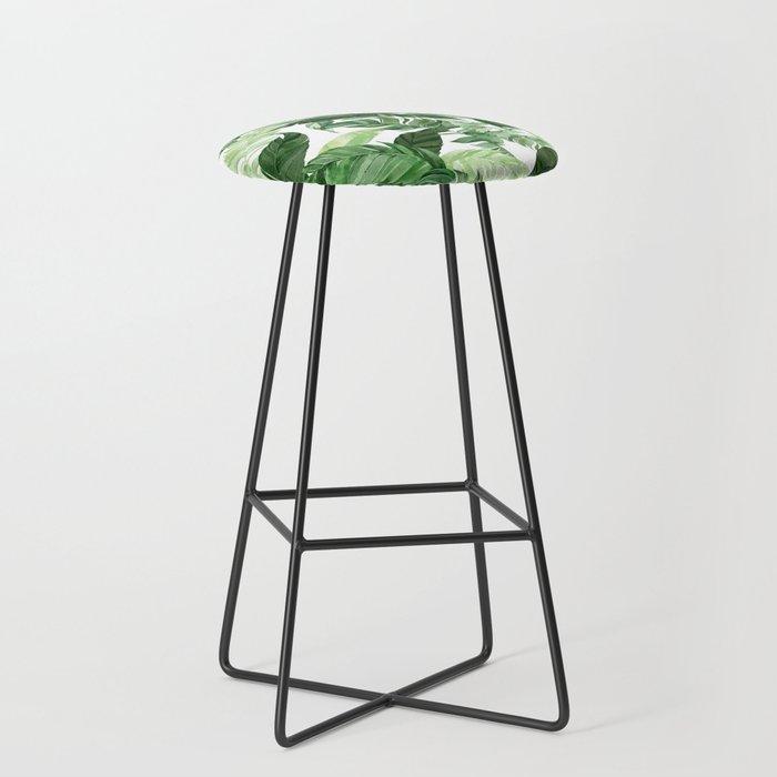 Green leaf watercolor pattern Bar Stool