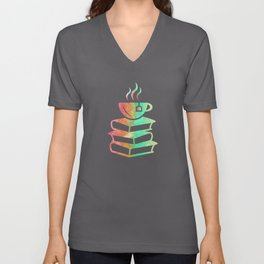 Tea & Book Stack - Tealover Reading Gift Unisex V-Neck