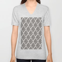 Hand painted black white geometrical diamond polka dots Unisex V-Neck