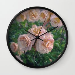 Soft Pink Roses Wall Clock