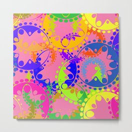 Texture of bright colorful gears and laurel wreaths in kaleidoscope style on a pink background. Metal Print