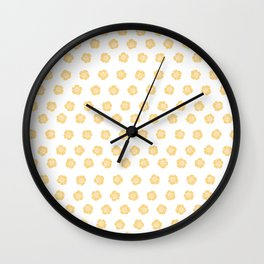 Yellow Floral Pattern Wall Clock