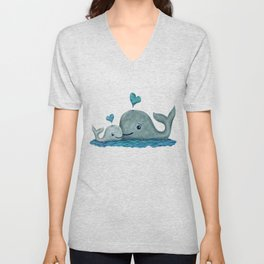 Whale Mom and Baby with Hearts in Gray and Turquoise Unisex V-Neck