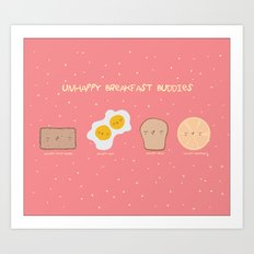 Unhappy Breakfast Buddies in Technicolor Art Print