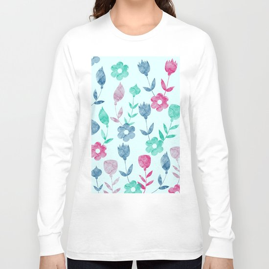 Watercolor Floral Pattern Long Sleeve T-shirt