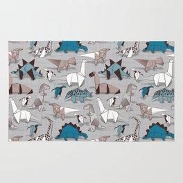 Origami dino friends // grey linen texture blue dinosaurs Rug