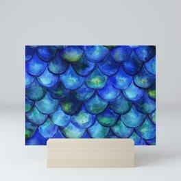 Blue Watercolor Mermaid Mini Art Print