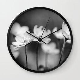 Anemone hepatica II - BW Wall Clock