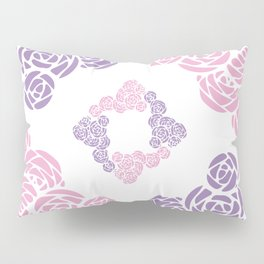 Purple and Pink Roses Doodle Art Pillow Sham
