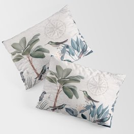 Tropical Birds Paradise Vintage Botanical Illustration Pillow Sham