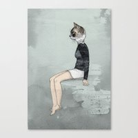 woman Canvas Prints featuring Cat Woman by Sandra Dieckmann