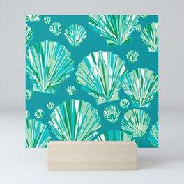 Modern Geometric Seashell Pattern, Aqua and Turquoise Mini Art Print