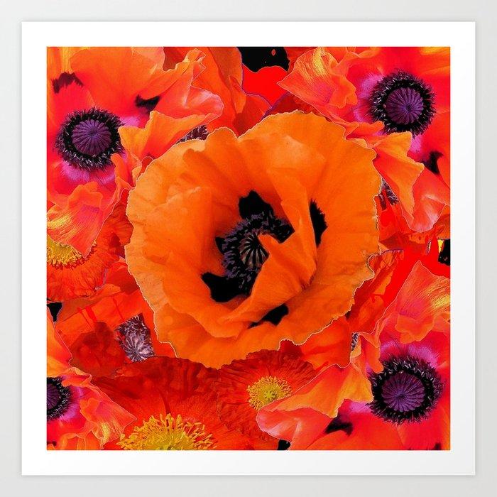 DECORATIVE ORANGE POPPY FLOWERS COMPOSITION Art Print