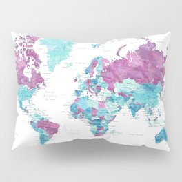 """Purple and turquoise watercolor world map with cities, """"Blair"""" Pillow Sham"""