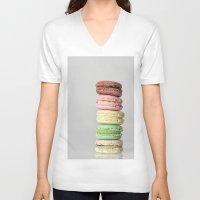 macarons V-neck T-shirts featuring Macarons by Lucía Gámez