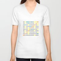 numbers V-neck T-shirts featuring Numbers by Andrew Reid