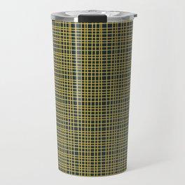 Fine Weave Retro Modern Mid-Century Pattern in Mustard Yellow and Navy Blue Travel Mug