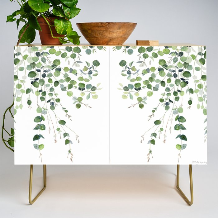 Modern Credenza Cupboard | Eucalyptus Watercolor by Melly Terpening - Gold - Birch - Society6
