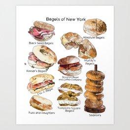 Bagels of New York City Art Print