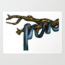 Blue Snake in Golden Tree  Art Print