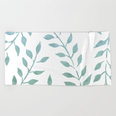 Garden Leaves Turquoise Mint Green Beach Towel