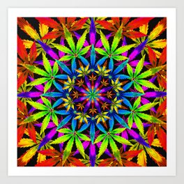 Stoners' Mandala Cannabis Leaves Art Print