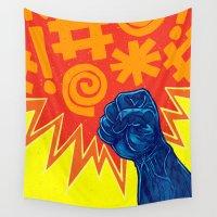superheroes Wall Tapestries featuring Superheroes SF by Nick Volkert