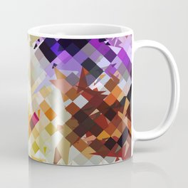 geometric square pixel pattern abstract background in purple brown Coffee Mug