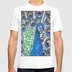 Small Peacock White Mens Fitted Tee MEDIUM