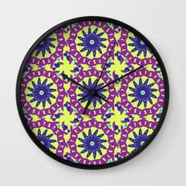 Chained Link Purple Spiral Flowers Wall Clock