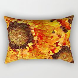 Sunflowers Abstracted Rectangular Pillow