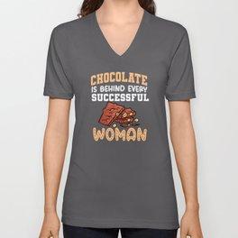 Funny Chocolate Saying Design Unisex V-Neck