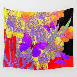 CERISE PURPLE BUTTERFLIES RED & BLACK FLORALS Wall Tapestry