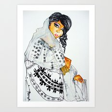 Romania- Woman in traditional clothes  Art Print