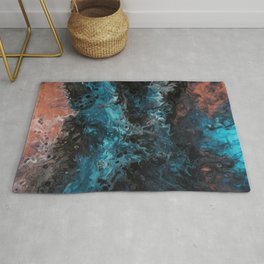 Teal and orange flowing abstract Rug