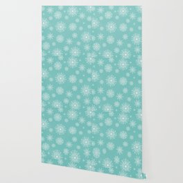 Assorted Snowflakes On Turquoise Backround Wallpaper
