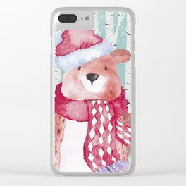 Winter Woodland Friends Cute Bear Snowy Forest Illustration Clear iPhone Case