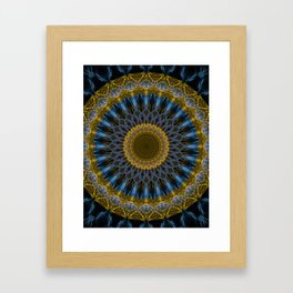 Mandala in golden and blue tones Framed Art Print