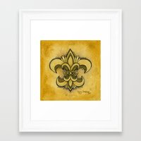 fleur de lis Framed Art Prints featuring Michelle Fleur de Lis by Cindy Strecker