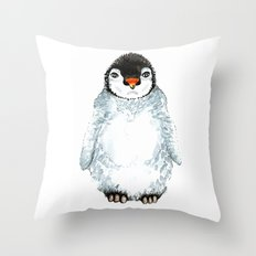 Molly the baby penguin Throw Pillow