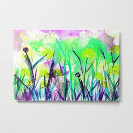 Flower Field Green Blossom Metal Print